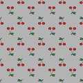 Pair of cherries seamless pattern gray background Royalty Free Stock Photo