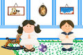 Pair of children first communion at home picture child jesus on the wall and old toys Stock Photos
