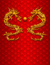 Pair of Chinese Dragons on Scale Background Royalty Free Stock Photo