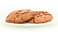 Pair of chocolate chewy cookies on white plate close up Stock Images