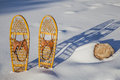 A pair of classic bear paw wooden snowshoes cast shadow in snow Royalty Free Stock Photos