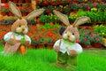 Pair of cute little easter bunnies