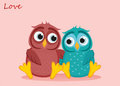 A pair of cute owls in love. Vector. Greeting card or invitation