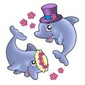 Pair of cute wedding dolphins Stock Photos