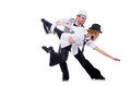 Pair of dancers dancing modern dance isolated