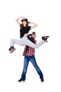 Pair of dancers dancing modern dances Royalty Free Stock Photography