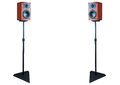 Pair of dark cherry loudspeaker on stands loudspeakers isolated white background with clipping path Stock Images