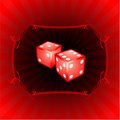 Pair of dice on decorative background Stock Photo