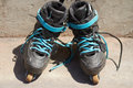 Pair of dirty aggressive in-line rollerblades Royalty Free Stock Photos