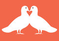 Pair of doves in love  illustration valentine card Royalty Free Stock Photo