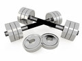 Pair of dumbbells d on white Stock Photos