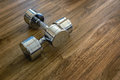 Pair of Dumbells in a Sport Fitness Room