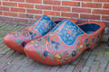 Pair of dutch wooden shoes in Hindeloopen Royalty Free Stock Photo