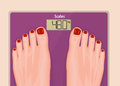 A pair of feet on a bathroom scale_Pink scales and red nails