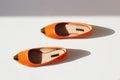 Pair of female summer shoe.orange girls shoes Royalty Free Stock Photo