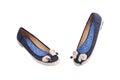 Pair of female summer shoe on white background Royalty Free Stock Photo