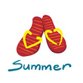 Pair of flip flops isolated on white background red flip flops with yellow elements a beach sneakers vector Stock Images