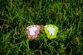 A pair of footprints model on the grass Royalty Free Stock Photo