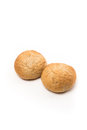 Pair Fresh baked wholegrain buns Royalty Free Stock Photo