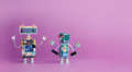 Pair funny robots characters on pink violet background. 4 industrial revolution concept. Cyber toys hand up. Copy space Royalty Free Stock Photo