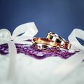 Pair of gold wedding rings with diamond beautiful golden diamonds for him and for her Stock Photography