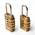 Pair of golden code master key Royalty Free Stock Photo
