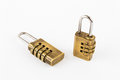 Pair of golden code master keys Royalty Free Stock Images
