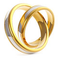 Pair Of Golden Platinum Weddin...