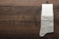 Pair of gray socks with blank packing Royalty Free Stock Photo