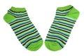 Pair Green, Black, Blue And White Striped Ladies Socks