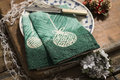 Pair of Green Folded Napkins on Plate with Christmas Decor Royalty Free Stock Photo