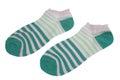 Pair Green And Magic Mint Striped Ladies Socks