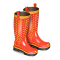 Pair of gumboots. Rain red boots with dots isolated on white