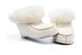 Pair of handcrafted leather shoes with wool lining on white background Stock Images