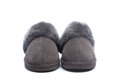 Pair of handcrafted leather slippers with wool lining on white background Royalty Free Stock Image