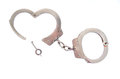 Pair of handcuffs photo a isolated on a white background Stock Photo