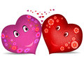 A pair of hearts with festive ribbon two floral pattern eps Royalty Free Stock Images