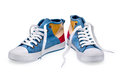 A pair of high top color denim gymshoes Royalty Free Stock Photo