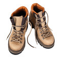 Pair of hiking boots isolated on white background Royalty Free Stock Photography