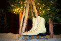 Pair of ice skates a amongs trees with christmas lights and fake snow Royalty Free Stock Photography