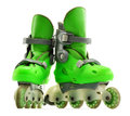 A pair of inline skates on white background Stock Photos