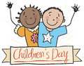 Pair of Kids Hugging Each Other in Children`s Day, Vector Illustration