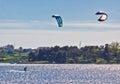 Pair of kitesurfers in Croatia Royalty Free Stock Photo