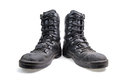 Pair of leather military boots Royalty Free Stock Photo