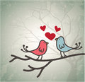Pair of love birds on a tree branch over shadow background vector illustration Royalty Free Stock Photo