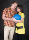 Pair of lovers and balloon Stock Photos