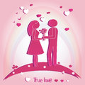 Pair Of Lovers With Hearts. Ve...