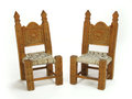 Pair of miniature chairs wooden on white background Royalty Free Stock Photos
