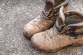 Muddy walking boots Royalty Free Stock Photo