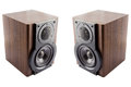 Pair of music speakers modern in classic wooden casing isolated on white background Stock Photo